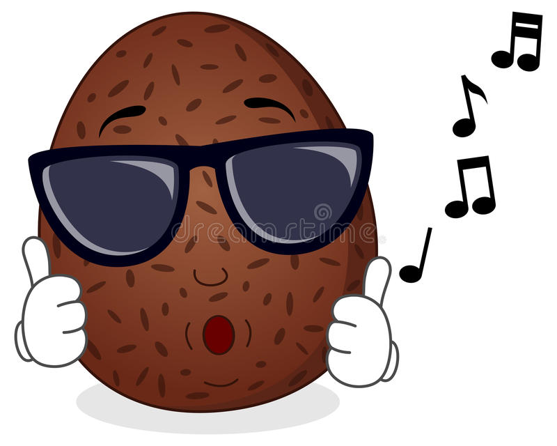 Happy Coconut Whistling with Sunglasses. A cool cartoon coconut character with thumbs up, whistling with sunglasses, isolated on white background. Eps file royalty free illustration