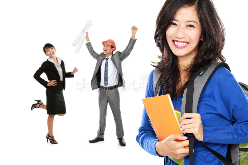 happy college student with books dreaming to be successful perso stock photos