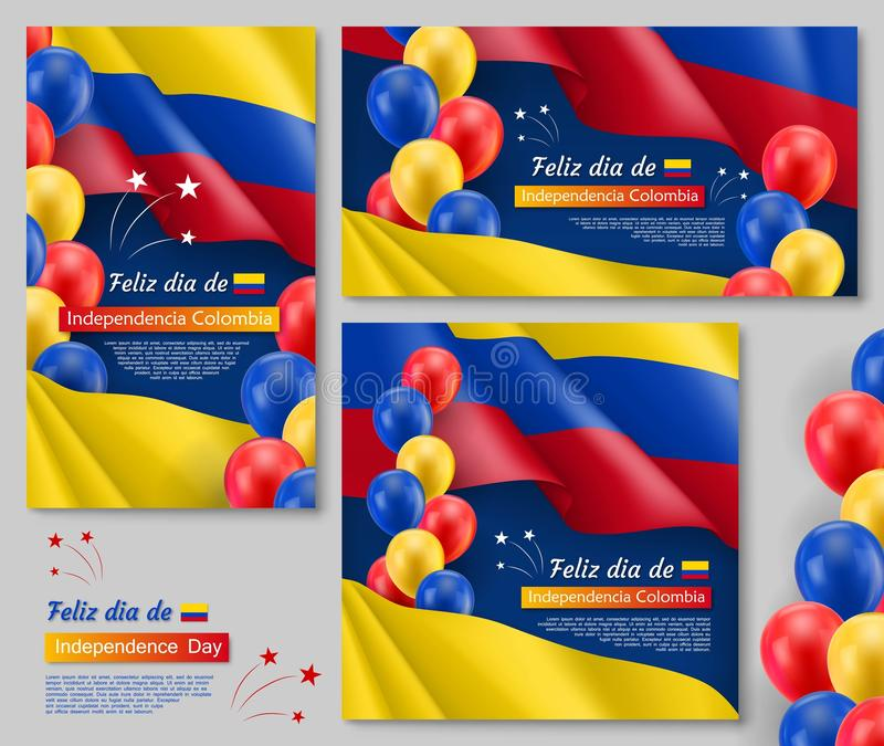 Happy Colombian Independence day posters set royalty free illustration