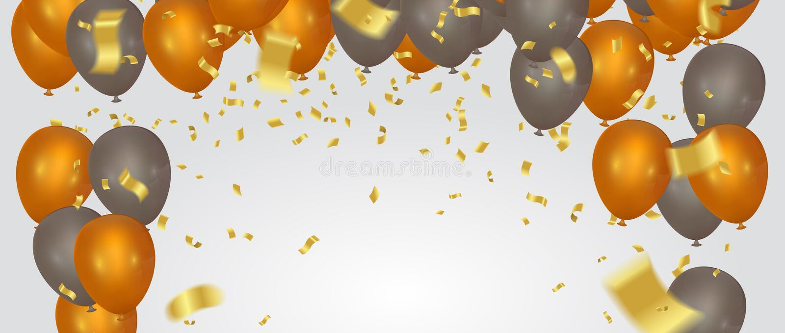 Happy Color background Happy Birthday! Holiday Banner with Colo. Rful Balloons. Win, Party & Sale Design. Vector illustration vector illustration