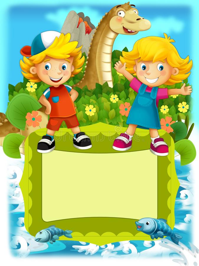 The group of happy preschool kids - colorful illustration for the children royalty free illustration