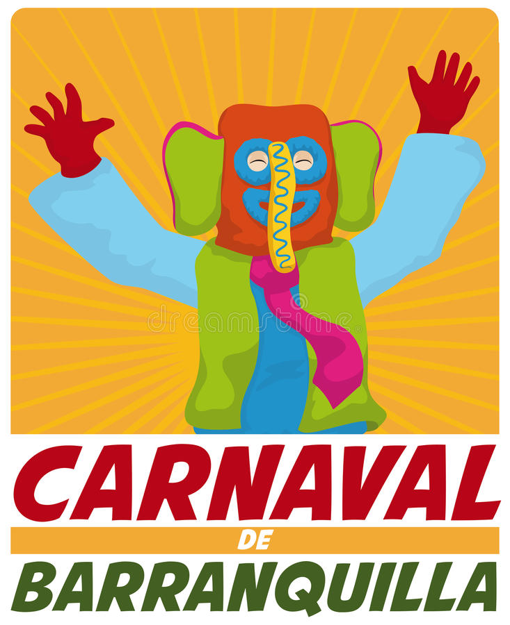 Happy Colorful Marimonda Celebrating in Barranquilla`s Carnival, Vector Illustration royalty free illustration