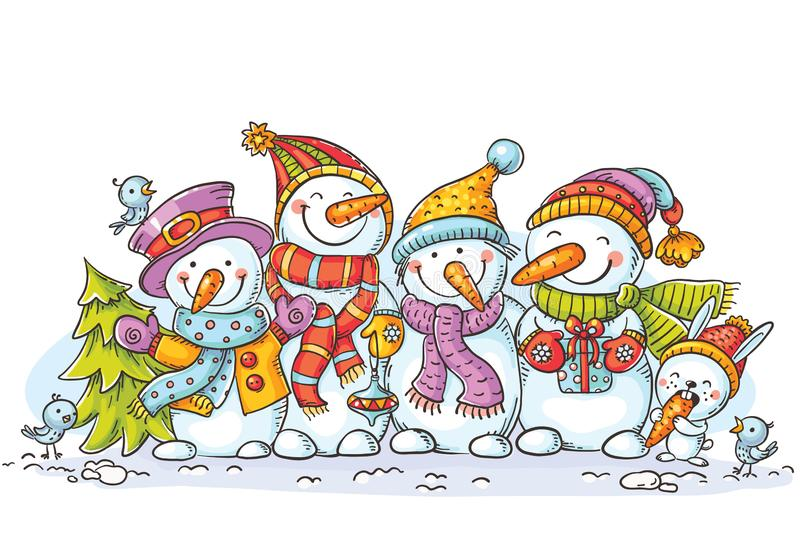 Happy colorful snowmen with Christmas ornaments, greeting card, vector illustration. Colorful royalty free illustration