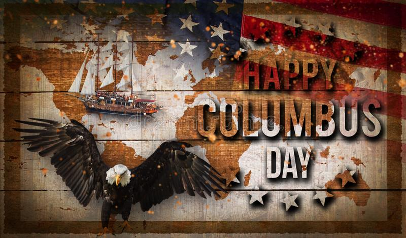 Happy Columbus day banner, patriotic background royalty free stock images