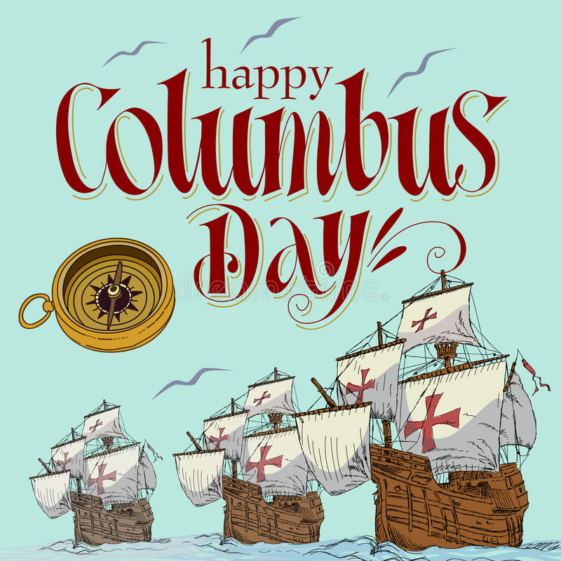 Happy columbus day royalty free illustration