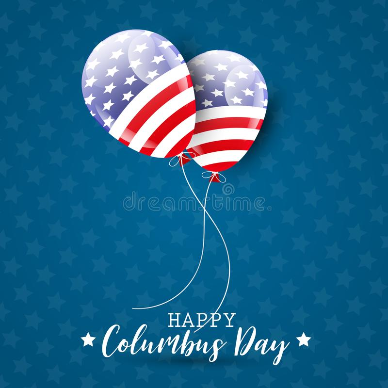 Happy Columbus Day illustration with USA flag style balloons. stock illustration