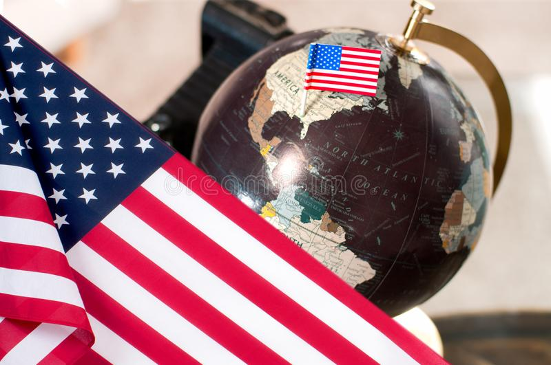 Happy Columbus Day. United States flag. World globe royalty free stock image