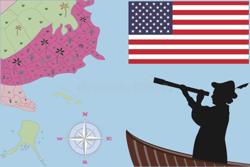 Happy Columbus Day Upptäckt av Amerika stock illustrationer
