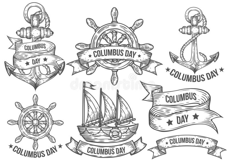 Happy columbus day vector hand drawn illustrations engraved set. Retro vintage nautical. Doodles, helm, boat, ship, anchor, ribbons. Sketch logo, emblem, banner vector illustration