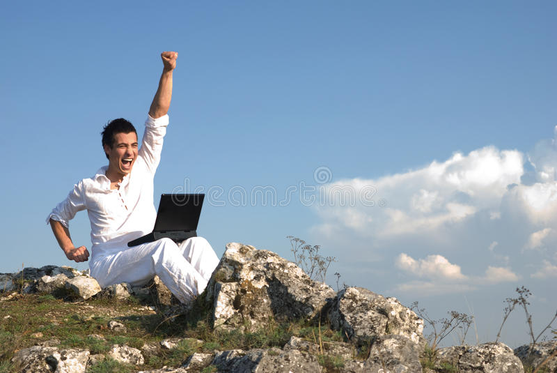 Happy communication stock image
