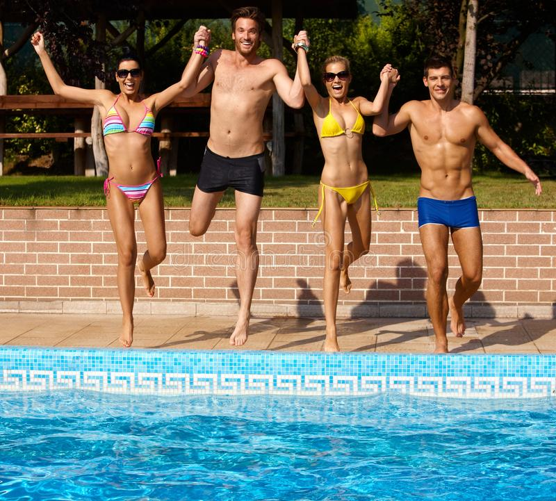 Free Happy Companionship Jumping To Water Royalty Free Stock Photos - 24192188
