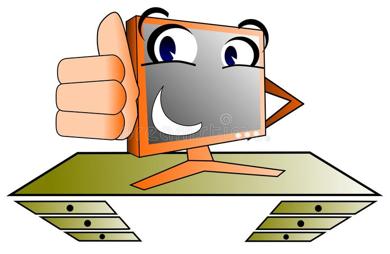 Happy computer. Image representing a computer on a desk in a cartoon version stock illustration