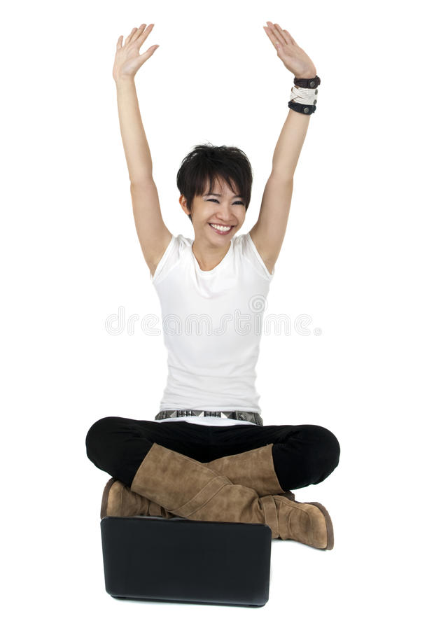 Download Happy Computer User stock image. Image of cute, crossed - 14147315