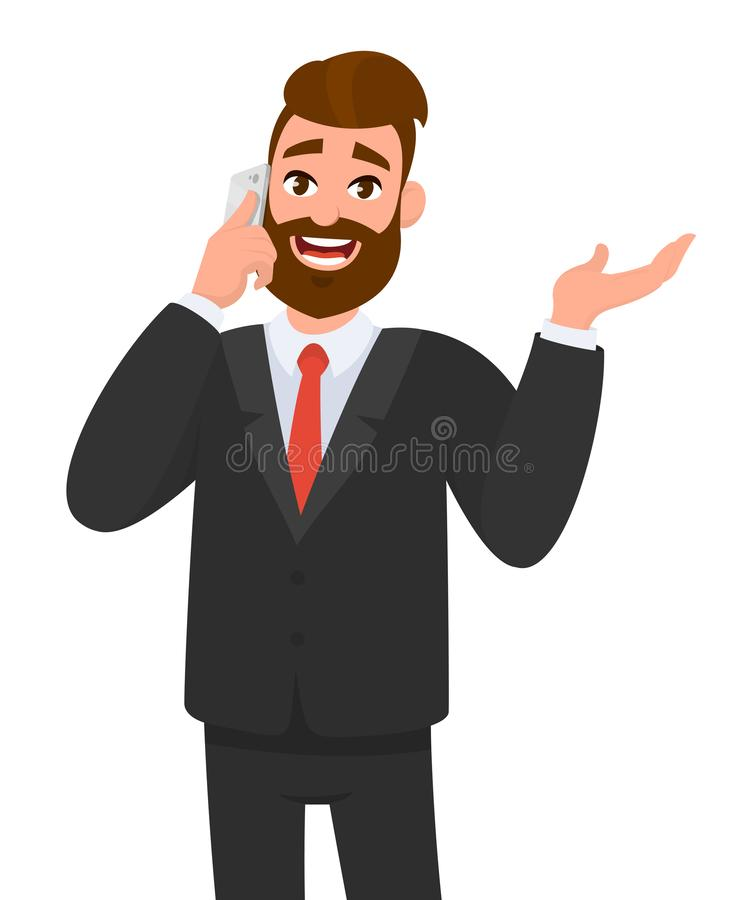 Happy confident businessman speaking on smartphone and gesturing hand to copy space. Business man talking on the mobile phone. stock illustration