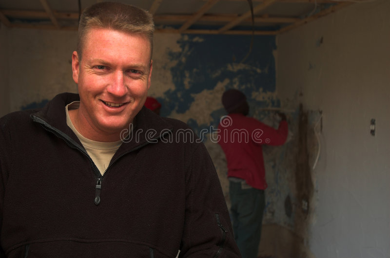 Happy construction foreman stock photography