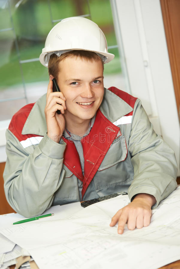Happy construction site manager engeneer stock photography
