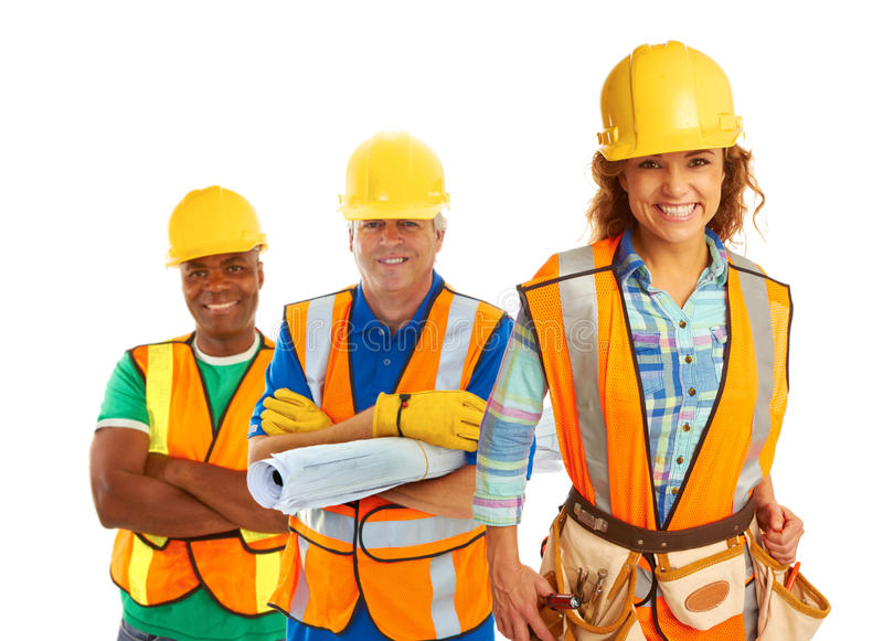 Happy Construction Workers stock photo