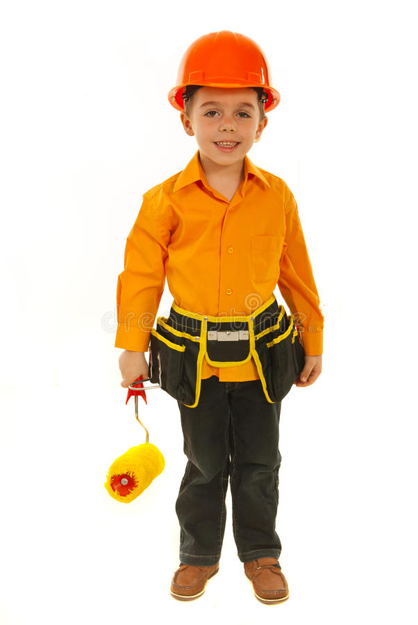 Happy constructor boy royalty free stock photography