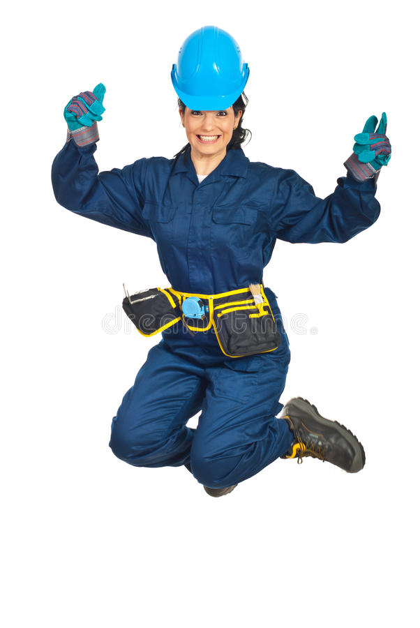 Download Happy Constructor Worker Woman Jumping Stock Image - Image: 19108065