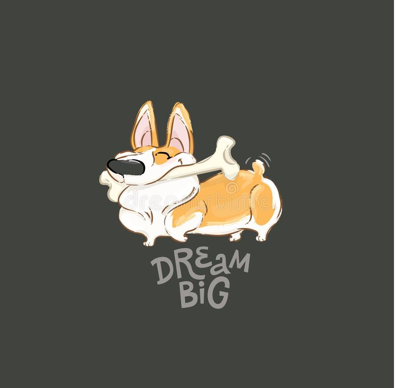Happy Corgi Dog Play Bone Vector Poster. Funny Little Puppy Animal Dream Big Concept Typography Print Poster Design. Can vector illustration