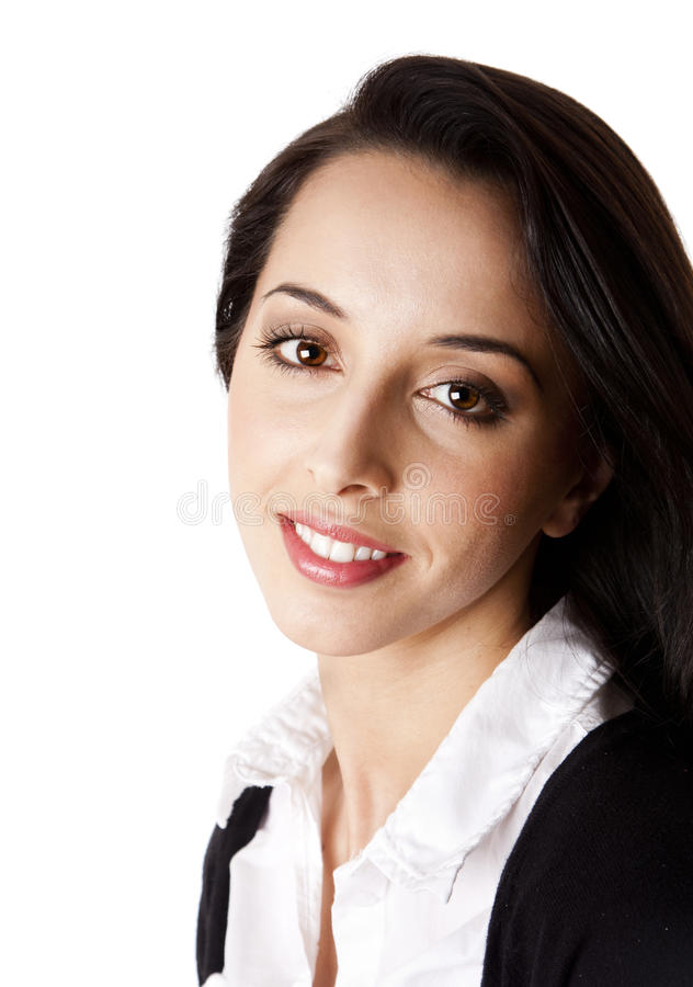 Happy Corporate Business woman face. Beautiful Caucasian Hispanic happy smiling cute corporate business woman. Face and shoulders of an entrepreneur female royalty free stock images