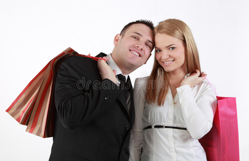 Download Happy couple stock photo. Image of friends, bags, shop - 24291146