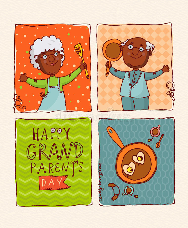 Happy couple African American retirees. Happy grandparents day. Happy grandparents day vector greeting card in retro style royalty free illustration