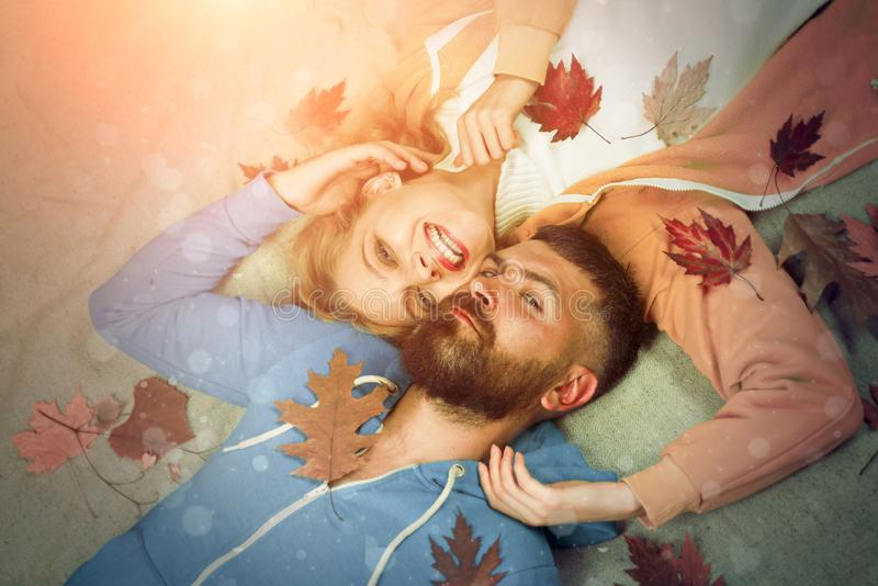 Happy couple in Autumn. Hello Autumn and leaf fall Dreams. Happy couple go shopping on black friday. I love you very royalty free stock photos