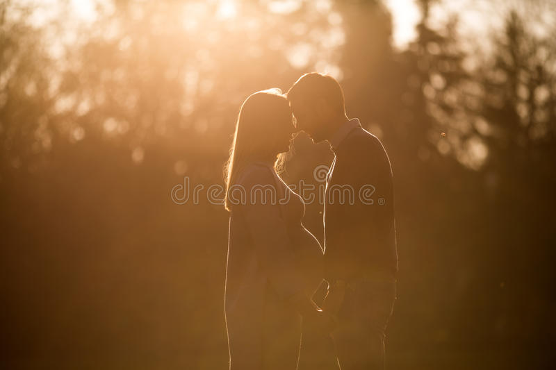 Happy couple in the autumn park stock image