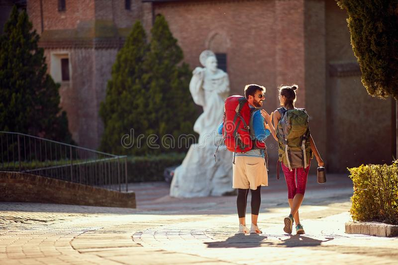 Couple with backpack on travel vacations, Travel lifestyle adventure concept stock photography
