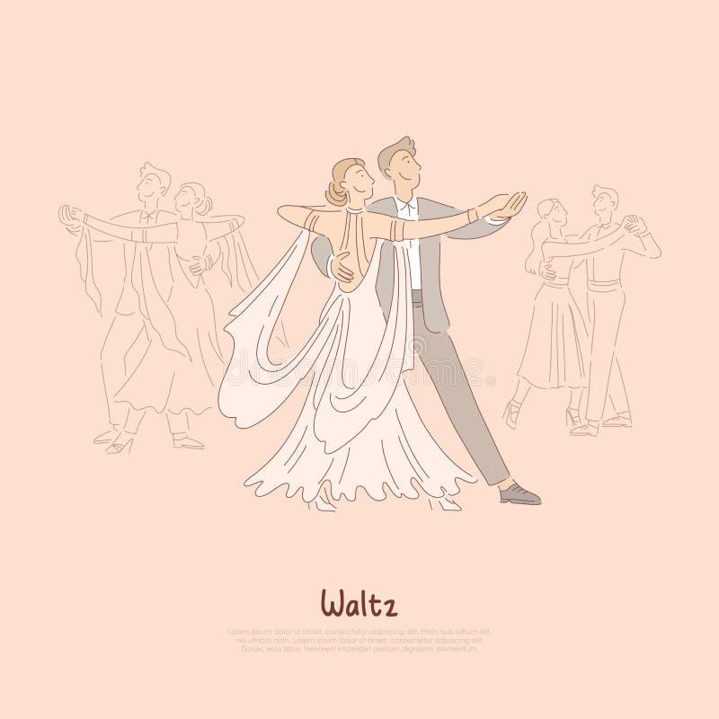 Happy couple in ballroom, young man in suit and woman in beautiful dress dancing waltz, ballet school banner vector illustration