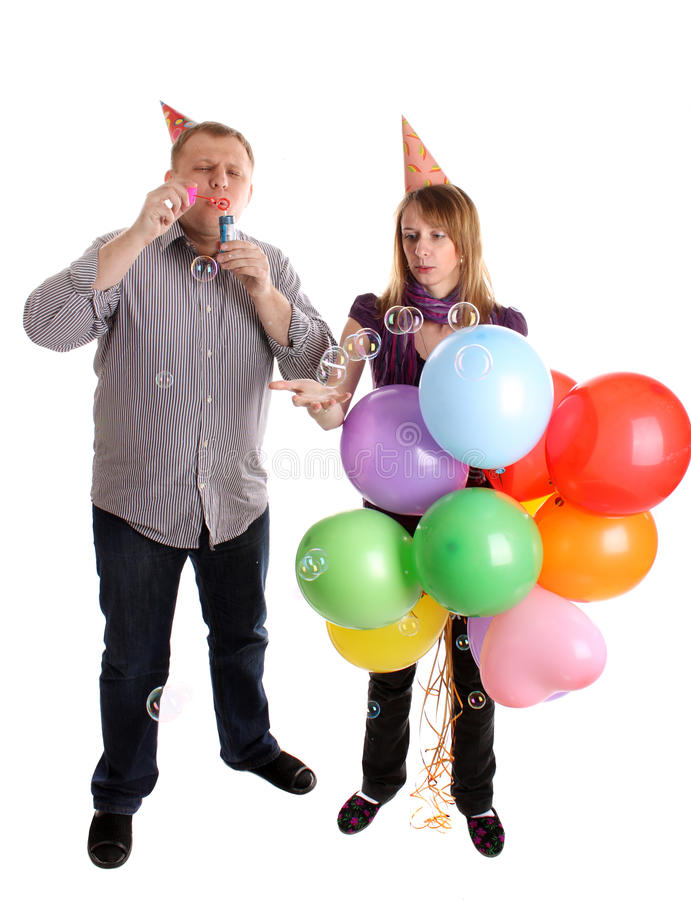 Download Happy Couple With Baloons And Bubbles Stock Photo - Image: 13471786