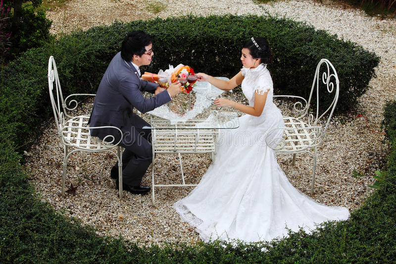 Download Happy Couple At The Banquet Table On Field Stock Photo - Image of romance, luxury: 26993900