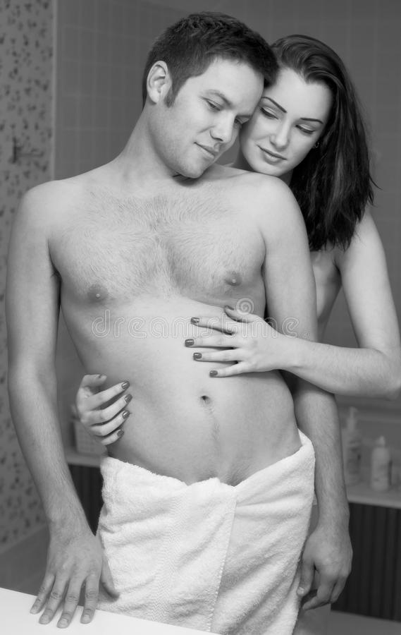 Download Happy Couple In Bathroom Stock Image Of Holding