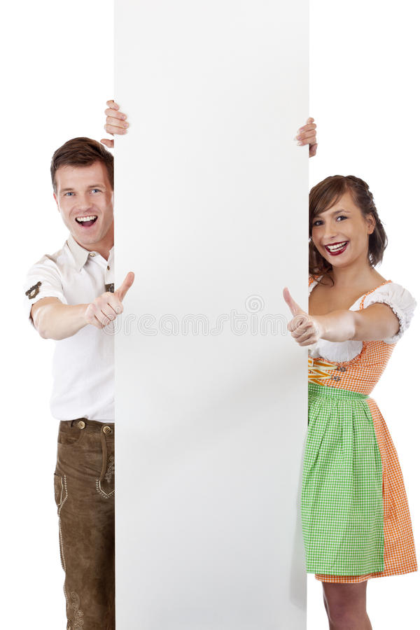 Happy Couple With Billboard Show Thumbs Up Royalty Free Stock Images