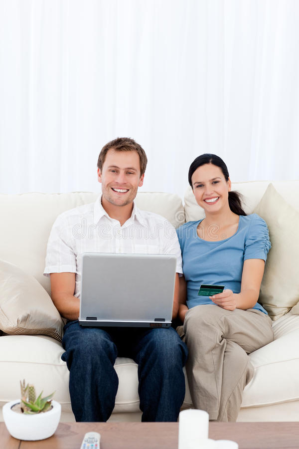 Download Happy Couple Buying Online With Their Credit Card Stock Photography - Image: 17376962