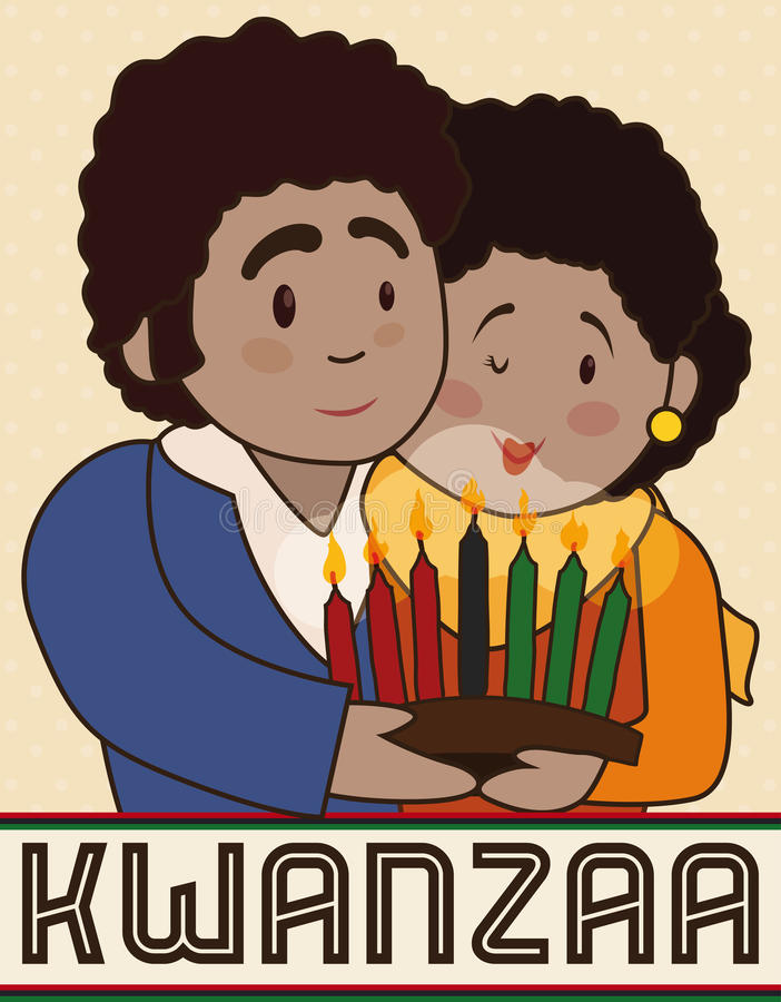 Happy Couple with a Candlelight Celebrating Kwanzaa, Vector Illustration. Poster with happy couple celebrating Kwanzaa holding a traditional candlelight with royalty free illustration