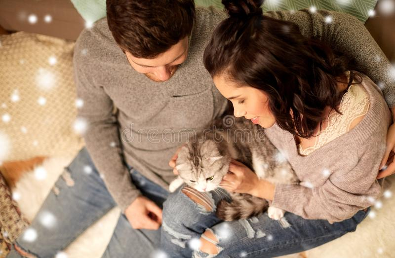 Happy couple with cat at home royalty free stock photos