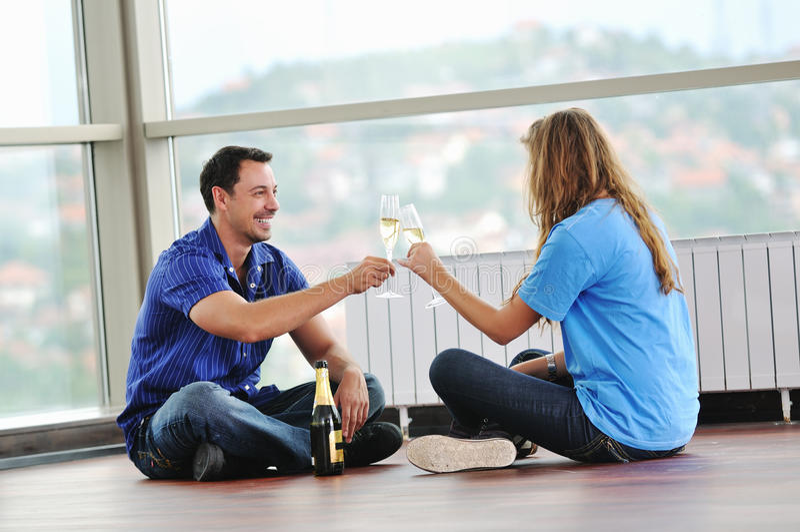 Download Happy couple celebrate stock photo. Image of indoor, celebration - 10977038