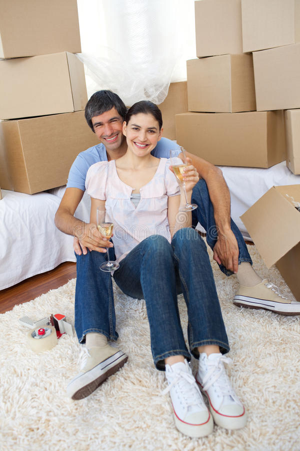 Download Happy Couple Celebrating With Champagne Stock Image - Image: 12401865