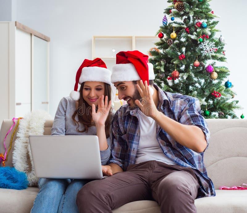 Happy couple celebrating christmas holiday royalty free stock photos