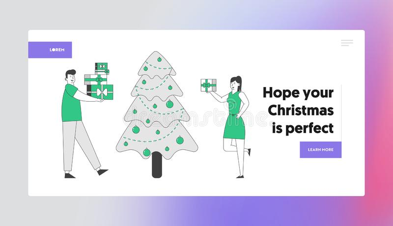 Happy Couple Celebrating New Year or Xmas Party Website Landing Page. Man and Woman Changing Presents Giving Gifts. On Event at Christmas Tree Web Page Banner vector illustration