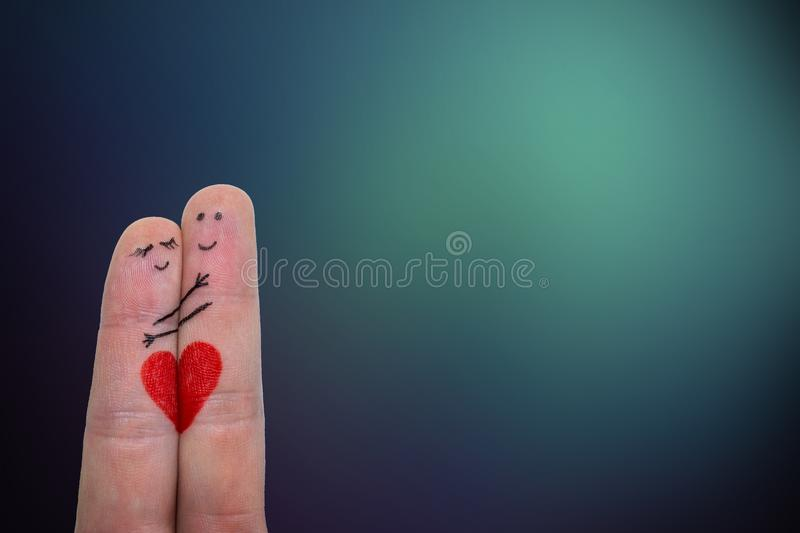 Happy Couple Concept. Two fingers in love. Close up stock images