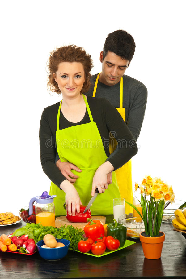 Download Happy couple cooking stock image. Image of home, holding - 24501805
