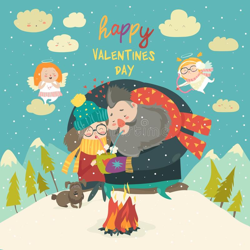 Happy couple on a date. Winter time Creative characters in love. Lovers embrace. Vector cartoon illustration for card, postcard, banner and poster vector illustration