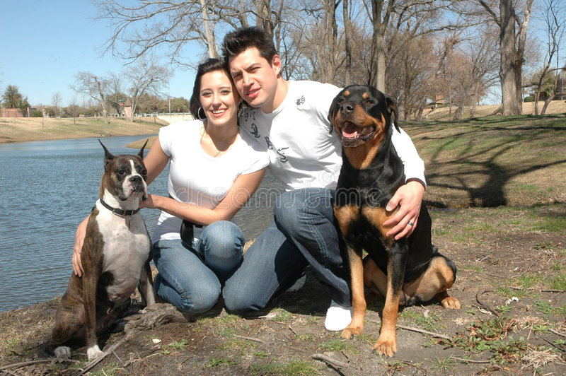 Happy Couple with Dogs stock images