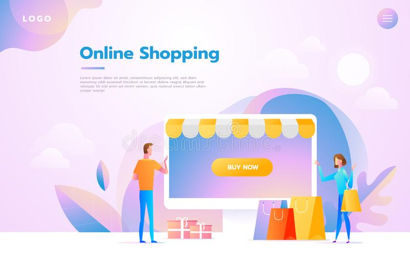 Happy couple doing online shopping together and carrying shopping bags, they used a retail app on a smartphone and vector illustration