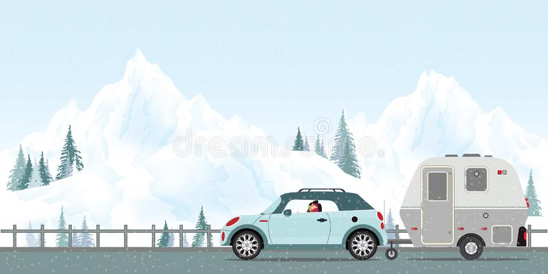 Happy couple driving car on road in winter. stock illustration