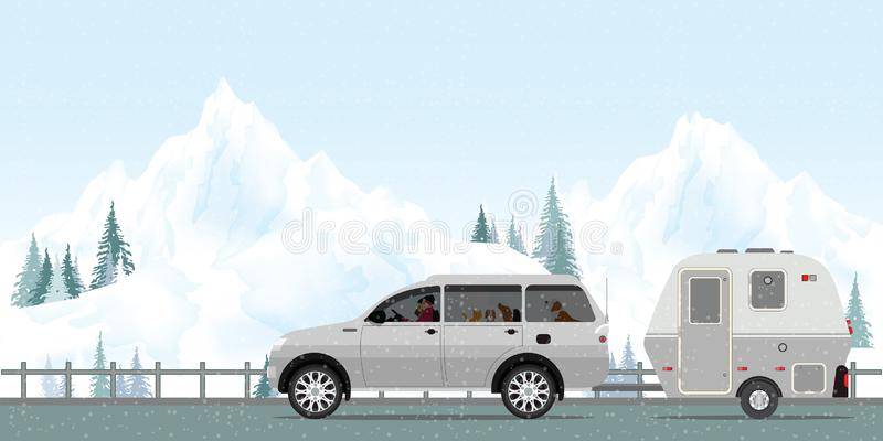 Happy couple driving car on road in winter.1 stock illustration