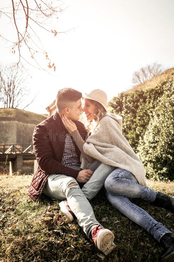 Happy couple outdoor. Couple in park. royalty free stock image